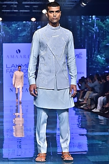 Ice Blue Embroidered Kurta Set With Nehru Jacket by Amaare