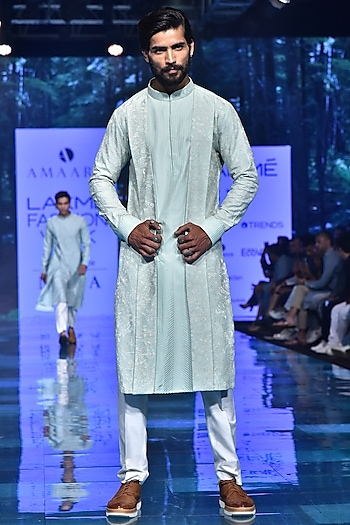 Pista Green Embroidered Kurta Set by Amaare