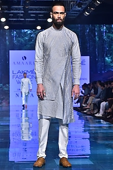Ice Blue Embroidered Asymmetric Kurta Set by Amaare