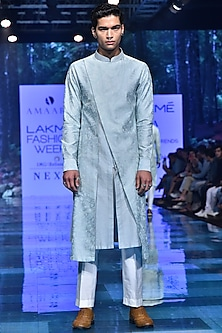 Aqua Blue Embroidered Asymmetric Kurta Set by Amaare