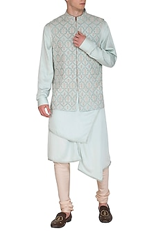 Powder Blue Kurta Set With Embroidered Bundi Jacket by Amaare