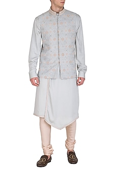 Ice Blue Kurta Set With Embroidered Bundi Jacket by Amaare