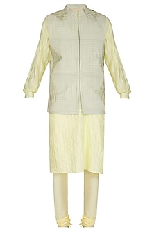 Lemon Yellow Kurta Set With Embroidered Bundi Jacket by Amaare