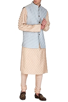 Peach Kurta Set With Ice Blue Bundi Jacket by Amaare