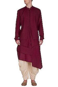 Beet Red Printed Kurta Set by Amaare