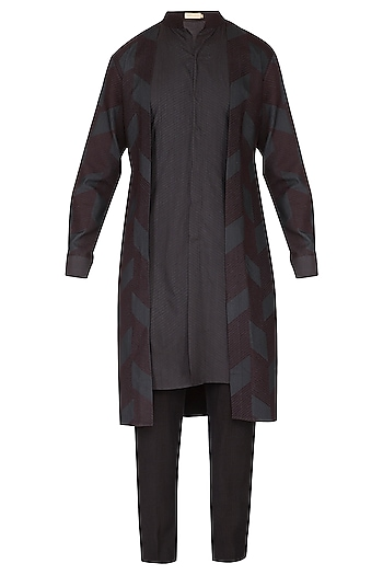 Black Printed Layered Kurta Set by Amaare