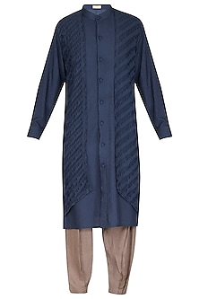 Rich Blue Printed Kurta Set by Amaare