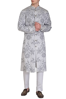 Silver Grey Embroidered & Printed Kurta Set by Amaare