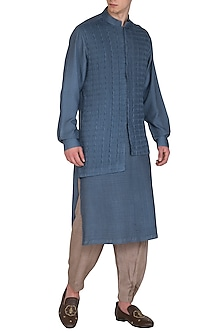 Denim Blue Printed Kurta Set by Amaare