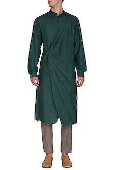 Forest Green Printed Pintuck Kurta Set by Amaare