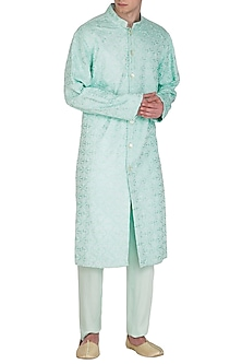 Sea Blue Embroidered & Printed Kurta Set by Amaare