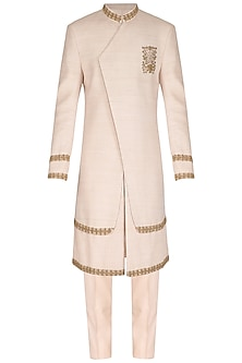 Ivory Printed & Embroidered Sherwani Set by Amaare