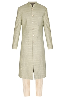 Pistachio Green Printed & Textured Sherwani Set by Amaare