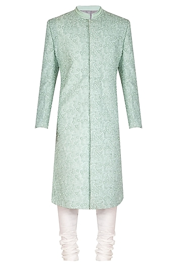 Pista Green Embroidered Sherwani Set by Amaare