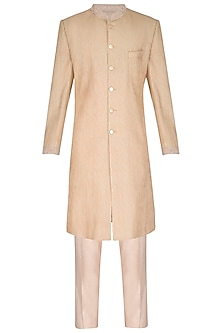 Peach Gold Embroidered Sherwani Set by Amaare