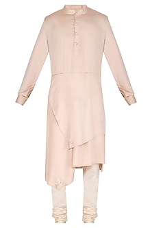 Beige Asymmetrical Kurta Set by Amaare