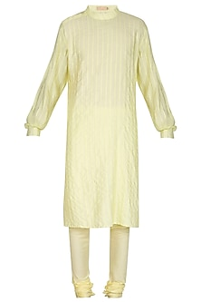 Lemon Yellow Embroidered Kurta Set by Amaare