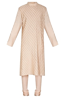 Pale Peach Striped & Pleated Kurta Set by Amaare