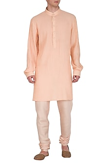 Peach Pintuck & Textured Kurta Set by Amaare