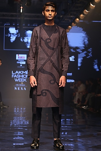 Navy Blue & Grey Embroidered Kurta by Amaare