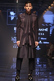 Navy Blue & Grey Embroidered Jacket With Trouser Pants by Amaare