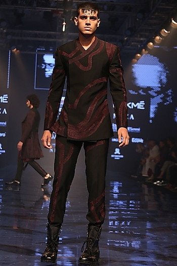 Wine & Black Embroidered Bandhgala Jacket With Pants by Amaare