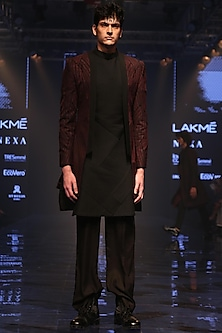 Wine & Black Embroidered Jacket With Trouser Pants by Amaare