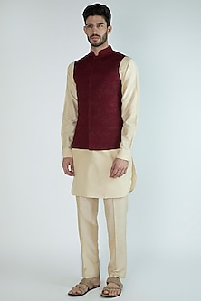 Beige Kurta Set With Wine Nehru Jacket by Amaare