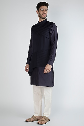 Navy Blue Kurta Set With Nehru Jacket by Amaare
