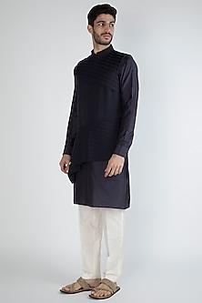 Navy Blue Kurta Set With Nehru Jacket by Amaare