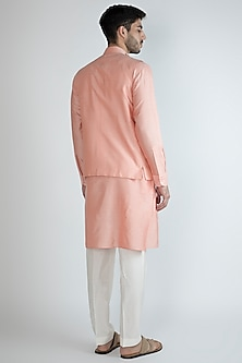 Peach Kurta Set With Embroidered Nehru Jacket by Amaare