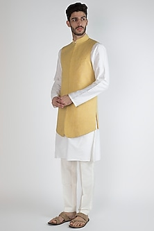 Yellow Embroidered Jacket With Ivory Kurta Set by Amaare