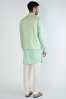 Mint Green Kurta Set With Embroidered Nehru Jacket by Amaare