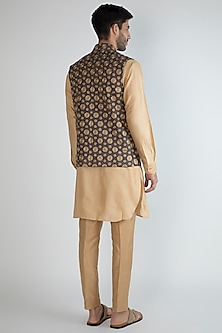 Navy Blue Embroidered Jacket With Golden Kurta Set by Amaare