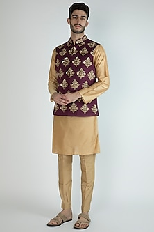 Purple Embroidered Jacket With Golden Kurta Set by Amaare