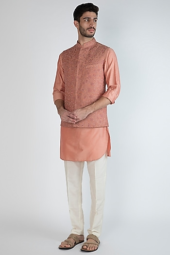 Peach Embroidered Nehru Jacket With Kurta Set by Amaare