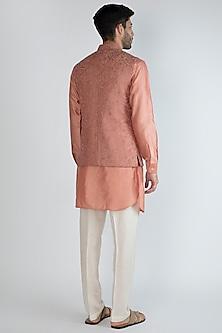Peach Embroidered Nehru Jacket With Kurta Set by Amaare