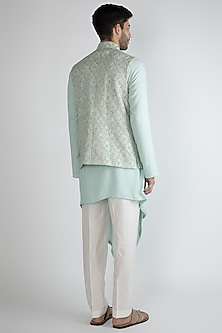 Sky Blue Embroidered Nehru Jacket With Kurta Set by Amaare