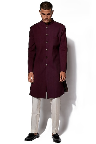 Wine Pintucked Jacket With Pants by Amaare