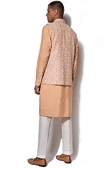 Peach Embroidered Jacket With Kurta Set by Amaare