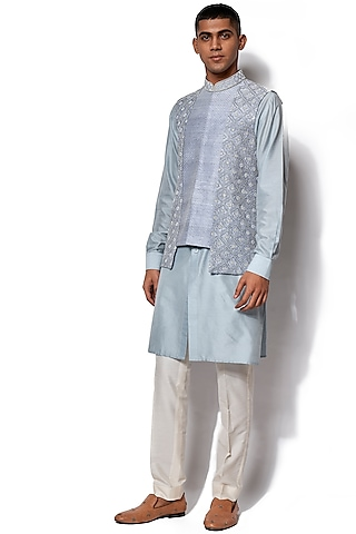 Ice Blue Embroidered Jacket With Kurta Set by Amaare
