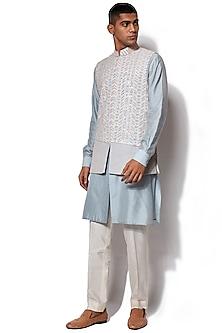 Ice Blue Embroidered Bundi Jacket With Kurta Set by Amaare