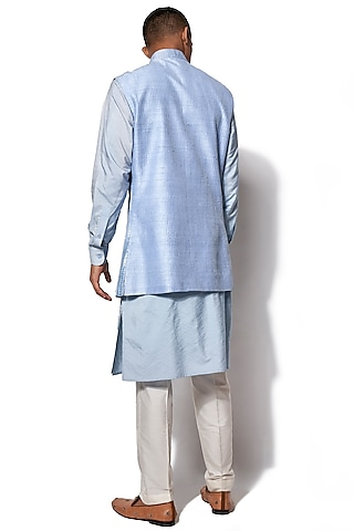 Ice Blue Embroidered Nehru Jacket With Kurta Set by Amaare