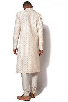 Ivory & Golden Textured Embroidered Sherwani Set by Amaare