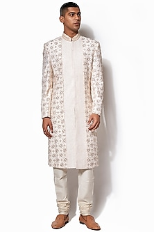 Ivory Textured Embroidered Sherwani Set by Amaare