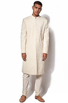 Ivory Hand Embroidered Sherwani Set by Amaare