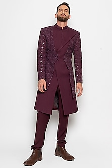 Wine Antares Long Jacket With Pants by Amaare-AMAARE
