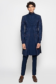 Navy Apollo Long Jacket With Pants by Amaare-AMAARE