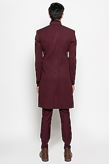 Wine Sirius Long Jacket With Pants by Amaare