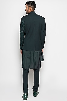 Forest Green Regulus Bandhgala Jacket With Pants by Amaare